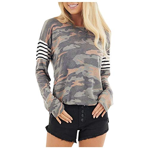 Dosoop Women's Camouflage Print Striped Loose Casual Pullover Long Sleeve Sweatshirts Top T-Shirt Blouse