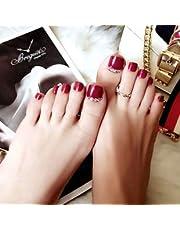 IYOU Modne sztuczne paznokcie u stóp, czerwony brokat, sztuczne paznokcie dla kobiet i dziewcząt (24 sztuki)