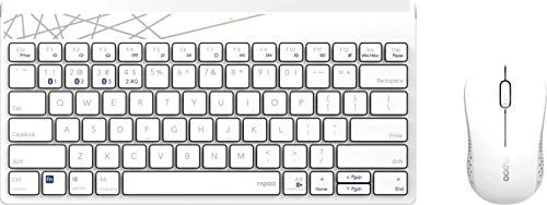 Rapoo 8000M kabelloses Tastatur-Maus-Set, Bluetooth und Wireless (2.4 GHz) via USB, kompakt, 1300 DPI HD-Sensor, DE-Layout QWERTZ, weiß