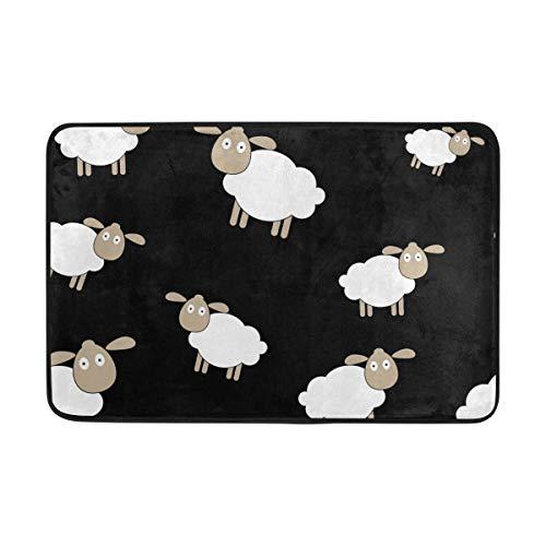 WowPrint - Felpudos de oveja para interiores, lavables, para salón, dormitorio, decoración del hogar, 60 x 40 cm