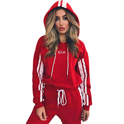 JEELINBORE Damen Trainingsanzug Sportswear 2 Stück Set Sport Yoga Outfit Jogginganzug Langarmshirt Sweatshirt Kapuzenpullover + Lange Hose (#1 Rot, CN XL)