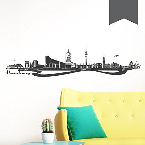 WANDKINGS Wandtattoo Skyline Hamburg (mit Sehenswürdigkeiten und Wahrzeichen der Stadt) 150 x 35 cm dunkelgrau - erhältlich in 33 Farben
