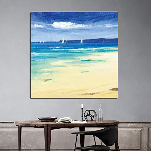 Mar y Barco de Vela Pinturas murales Paisaje Marino de Gran tamaño Imágenes Decorativas para el hogar Carteles de Arte Abstracto para Sala de Estar 1 50x50cm
