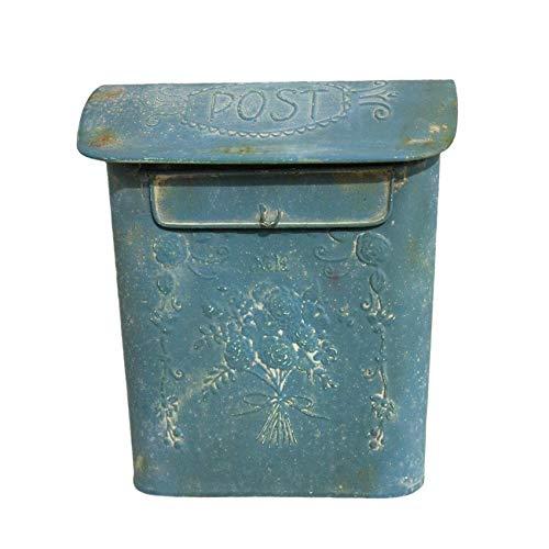 All Chic Briefkasten aus Eisen, handgefertigt, mit blauem Antik-Metall-Finish und Blumenmuster