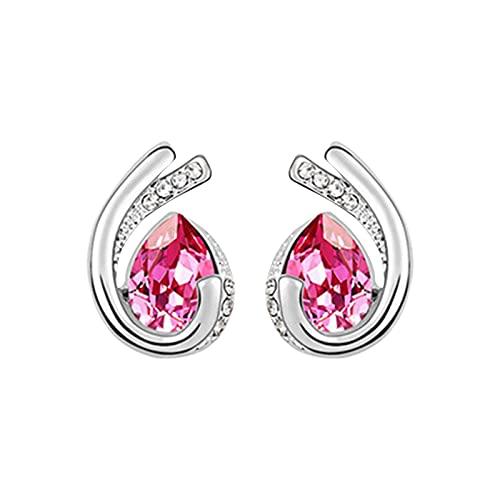 Serria Regalos para Mujeres, Pendiente de botón de Diamante para Niñas, Regalos de Cumpleaños para San Valentín el día de la Madre para Mamá Esposa Novia (Rosa roja)