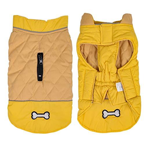 Idepet Wasserdichter Hundemantel für den Winter,Warme Jacke,Winddicht, Schneeanzug für kleine und mittelgroße Hunde mit Gurtloch
