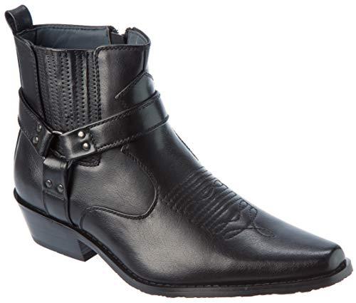 Western01 Herren Western-Stil Cowboy-Stiefel, PU-Leder, Schwarz (schwarz), 43 EU