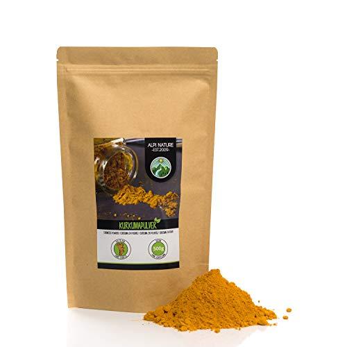 Poudre de curcuma (500g), curcuma 100% naturel, racine de curcuma séchée et moulue doucement, bien sûr sans additifs, végétalienne
