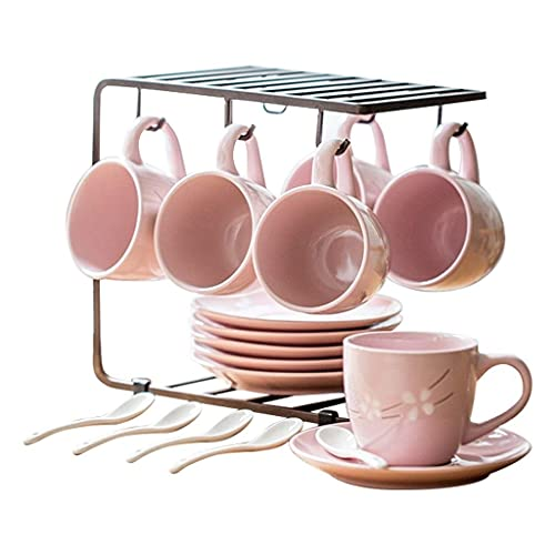 FGDSA Tea Set Ceramic Tea Set Set 6 Piece Set Afternoon Tea Set Coffee Cup Set Tea Gift Sets (Color : Black)