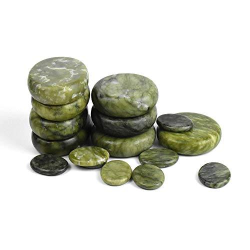 Windfulogo 16Pcs Large Hot Massage Stones Set Natural Green Jade Heated Warmer Stone for Spa Massage...