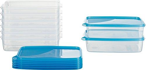 MiraHome Frischhaltedose Gefrierbehälter 1,5l rechteckig flach 23x15x6,5cm 8er Set blau Austrian Quality