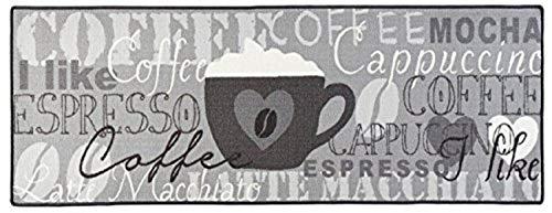Bavaria Home Style Collection Küchenläufer/Küchenmatte/Läufer/Dekoläufer für Küche und Bar - grau - Espresso - Coffee - Cappuccino - Cafe Latte - ca. 67 x 180 cm