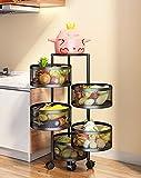 Livronic 360 Rotating Shelf, Circular Layered Storage Rack, Kitchen Rotating Vegetable Rack, Floor-to-Ceiling Multi-Layer Kitchen Storage Rack, Living Room Kitchen Household Storage Rack (Size : 5f)
