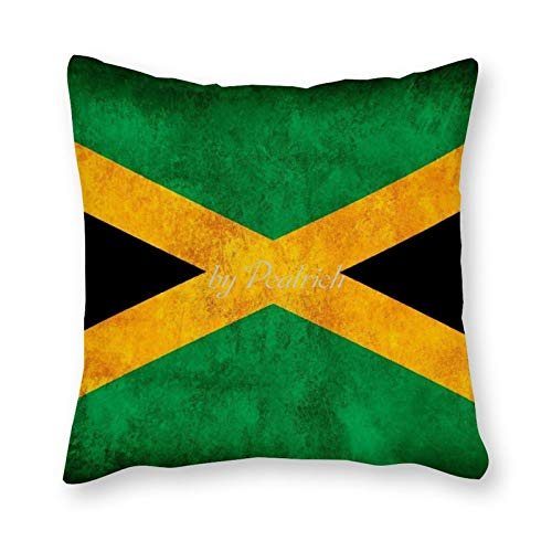 Viowr22iso Decorative Pillow Covers 18x18, Rustic Jamaica Flag National Flag Country Cushion Cover Pillow Case Home Decor for Couch Sofa Bed Chair