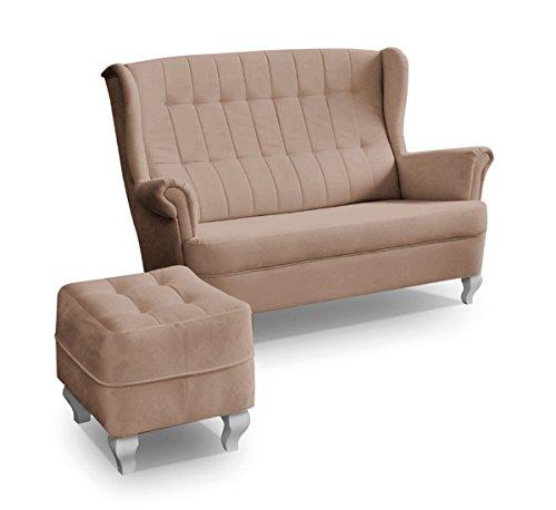 Ohrensofa mit Hocker 2er 2-Sitzer Couch Stoffsofa Ohrensessel 3er Sofa Stanford (Braun)