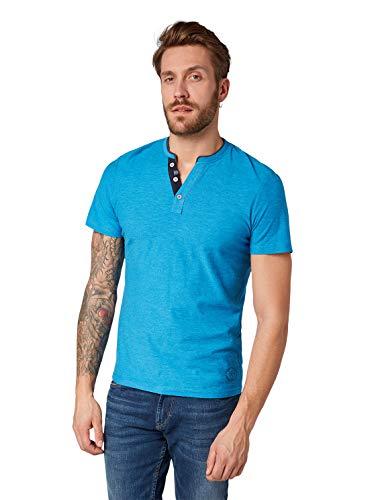 TOM TAILOR Herren Basic Baumwoll Henley T-Shirt, Blau (Coastal Blue Yarndye 16051), Medium