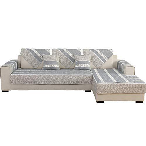 YUTJK Serviette de canapé de Tissu de Coton antidérapant,Housse de Canapé d'angle avec Accoudoirs Housse de Canapé Modèle L Canapé Protecteur Évolutif,Grise_110×110cm