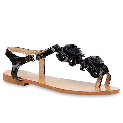 Damen Zehentrenner Blumen Lack Sandalen Dianetten Bequeme Sommer Übergrößen Flats Schuhe 103550 Schwarz 38 Flandell