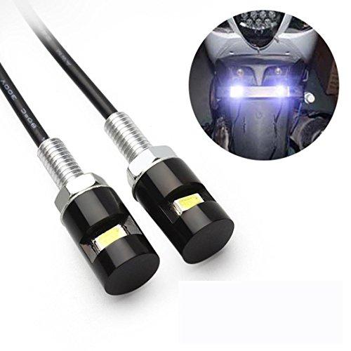 hunpta Lot de 2 ampoules LED SMD blanches pour plaque d'immatriculation de moto et voiture 12 V (Noir)