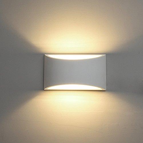DECKEY Lámpara de Pared de Cerámica, Iluminación Decorativa en Yeso Luz de Pared LED Arriba Abajo, Efecto de Luz Interior para Dormitorio, Salón y habitación