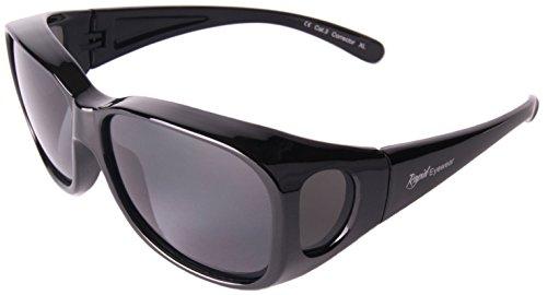 Rapid Eyewear Damen und Herren Schwarz Polarisierte Medium/groß ÜBERBRILLE Das Passen Über Brillen. Sonnenüberbrille für Fahrrad, Angeln, Sport etc. UV400 Schutz