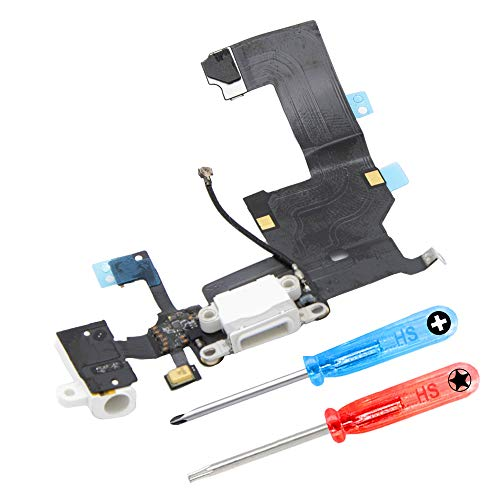 MMOBIEL Repuesto Conector Dock de Carga Compatible con iPhone 5 (Blanco), Incl. 2 X Destornilladores