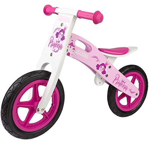 WOOMAX - Bicicleta sin pedales de madera, bici de princesas, 82x38x56,5 cm, bici niña, bici para niños de 3 años, juguete de princesas, 25 Kg, 2 a 5 años (85372)