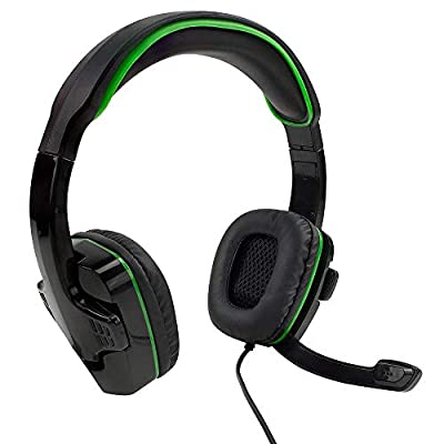 SF1 Stereo Gaming Headset for Playstation 4 / 5, Xbox One, Series X / S, Nintendo Switch, PC, Foldable Microphone, Adjustable Headband, In-Line Volume and Mute Controls - Black and Green by Sparkfox
