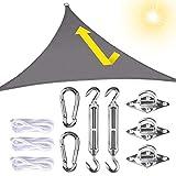 longziming Sonnensegel wasserabweisend Sonnenschutz für Terrasse Dreieckig, 3x3x3 atmungsaktiv Windschutz mit Wasserdicht Tuch 98% UV Schutz für Garten, Terrasse, Camping, Aussen (Grau)
