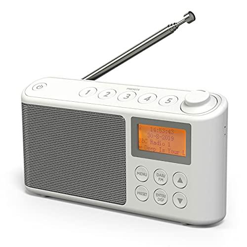 Radio DAB/DAB+ e FM, Radio Portatili Alimentata a Corrente e Batteria Ricaricabile, Radiolina Portatile con caricatore USB per un'autonomia di 15 ore (Bianco)