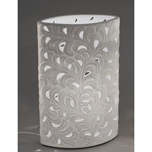 formano Porzellan-Lampe Harmonie Oval Romantik Tischleuchte Nachttischlampe Nachttischleuchte Stimmungslampe Weiss 18x28cm