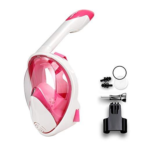 RatenKont Mascarilla de Buceo de Buceo de Cara Completa Anti de Niebla Gafas con Montaje de cámara Mascarilla de natación de visión Amplia bajo el Agua White Pink S/M