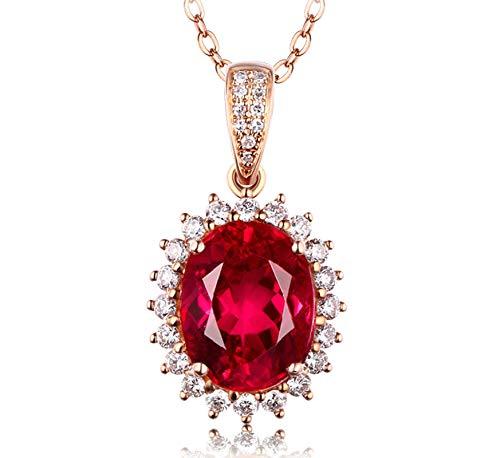 Epinki Oro Rose de 18 Quilates Collar Sangre de Paloma Turmalina Forma Colgante Mujeres Joyería Nupcial Cadena de Mujeres 3.0ct con 3ct Rojo Sangre de Paloma Turmalin