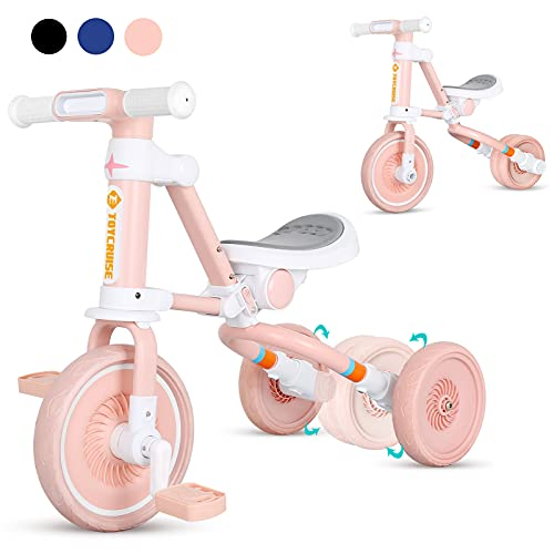3 in 1 Kids Tricycle for Age 1-4 Years Old Kids, Toddler Baby Balance Bike - Folding Trike for Boys and Girls - Adjustable Seat - Convertible Rear Wheels - Removable Pedals(Pink)