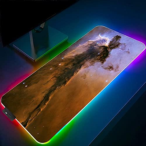 Space Nebula Scenery RGB Gaming Tappetini per Mouse Grande LED Incandescente 14 Modalità di Luci Tappetino da Scrivania per Tastiera 35,43 pollici X 15,74 pollici X 0,16 pollici