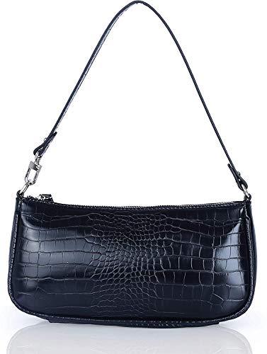 Baguette Tasche,Retro Baguette Bag,mit schickem Krokoprägung-Druck,Damen Umhängetasche,Fashion Schultertasche,Baguette Handtaschen,3 Farben (Schwarz)