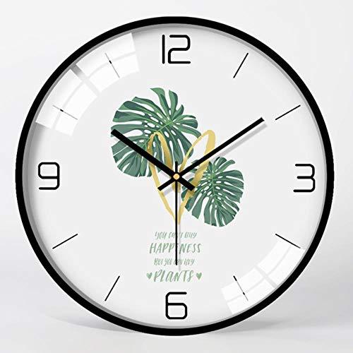 RUK Reloj de Pared de Sala de Estar silencioso Reloj de Dormitorio Personalidad Mesa Colgante de Pared Reloj de Cuarzo atmosférico Creativo para el hogar, Marco de Metal Negro 06,30.5 cm de diámetro