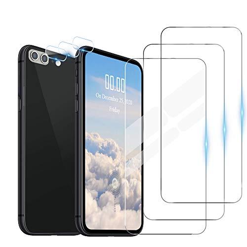 WeiCase 3 Pack Cristal Templado + 3 Pack Protector de Lente de Cámara para iPhone 7 Plus/8 Plus,HD[Resistente a los arañazos] [Sin Burbujas]