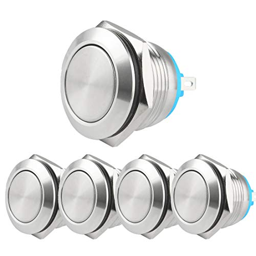 Larcele 19 mm drukknoppen DIY waterdicht Momentan Push Button 1NO roestvrijstalen schaal,5 stuks JSANKG-17 J Pin Terminal, Flachkopf