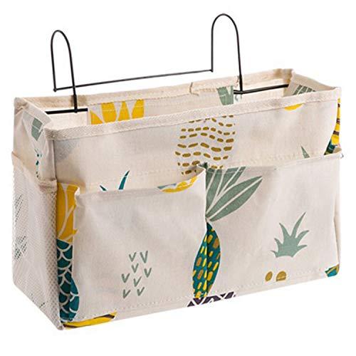RETYLY Kosmetische Aufbewahrungs Tasche Gitter H?Ngende Aufbewahrungs Tasche Nachttisch Aufbewahrungs Organisator mit Haken Bett Tasche Ananas