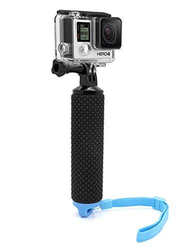 MyGadget Schwimmender Action Kamera Handler Stick - Rutschfester Handgriff Monopod Wasser Zubehör für z.B. GoPro Hero Black 8 7 6 5 4 3+ 3, Xiaomi Yi 4K - Blau