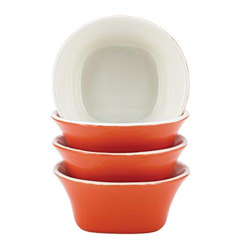Rachael Ray Dinnerware Round & Square 4-Piece Stoneware Fruit Bowl Set, Orange