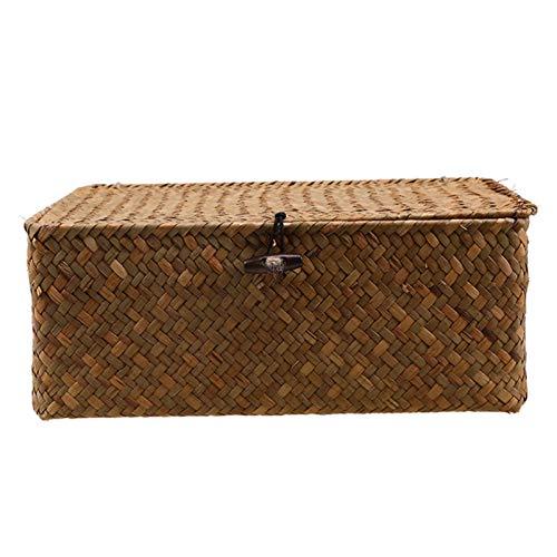 FEINENGSHUAI zwl cajas de almacenamiento nueva cesta tejida de algas marinas con botones, tejido de paja desechos, caja de almacenamiento de escritorio, cesta de almacenamiento tejida a mano