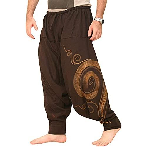 LXFZMD Sweetpants para Hombre Pantalones Harem Moda Pantalones De Chándal Transpirables Pantalones De Danza Pantalones De Algodón(Size:XXL,Color:Brown)