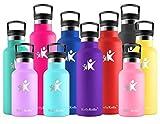 KollyKolla Botella de Agua Acero Inoxidable, Termo Sin BPA Ecológica Reutilizable, Botella Termica con Pajita y Filtro, Water Bottle para Niños & Adultos, Deporte, Oficina (500ml Morado Oscuro)