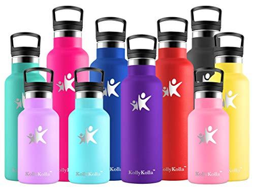 KollyKolla Botella de Agua Acero Inoxidable, Termo Sin BPA Ecológica Reutilizable, Botella Termica con Pajita y Filtro, Water Bottle para Niños & Adultos, Deporte, Oficina (350ml Morado Oscuro)