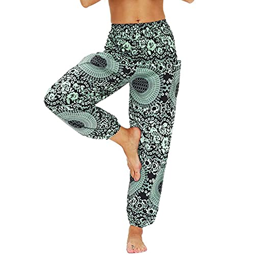 Womens Bohemian Harem Pants Hippy Palazzo Trouser for Girls Gypsy Yoga Pants Festivals Lounge Beach Wear Holiday Summer Beach Party Green