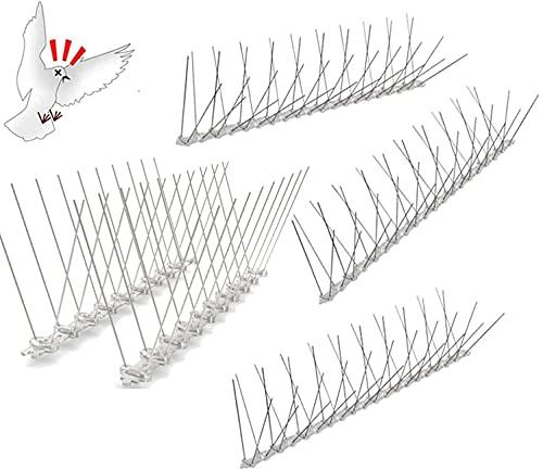 4 pinchos antipalomas, protección contra pájaros, protección contra palomas, de acero inoxidable, para balcón, techo y ventanas, como ahuyentador de palomas y protección para el huerto de frutas