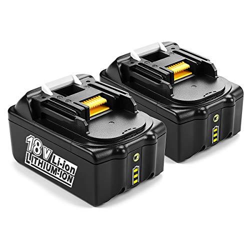 Energup - Batteria di ricambio agli ioni di litio da 18 V, 5000 mAh, per Makita BL1850B BL1830 BL1840 BL1850 BL1860 BL1815 BL1820 BL1845, con indicatore LED, 2 pezzi