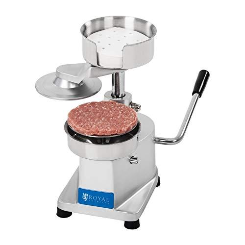 Royal Catering Pressa per Hamburger Professionale Stampo per Hamburger RCHM-130 (Diametro: 13 cm, Acciaio inox, incl. 500 fogli separatori)
